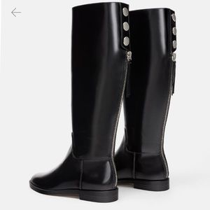 NWOT Zara Tall Riding Boots w Silver Button Detail